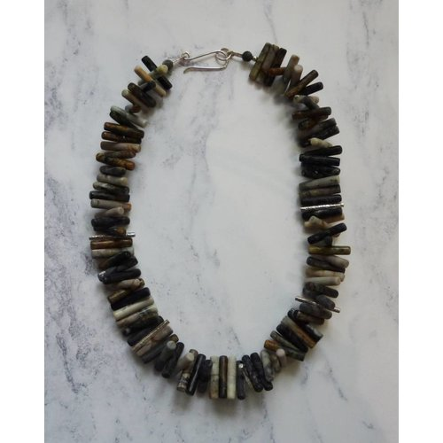 Angela Learoyd Spiky Cylinder Picasso Jasper and silver necklace
