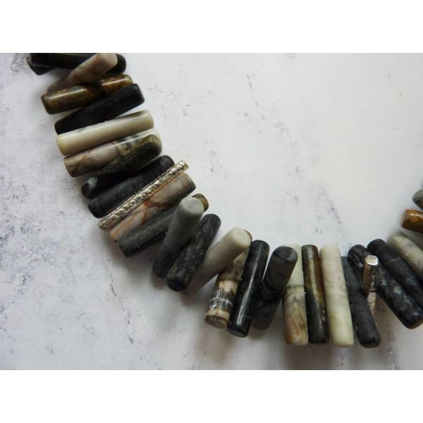 Spiky Cylinder Picasso Jasper and silver necklace