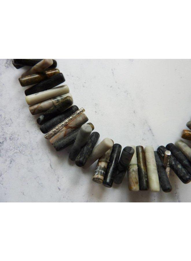Spiky Zylinder Picasso Jaspis und Silberkette