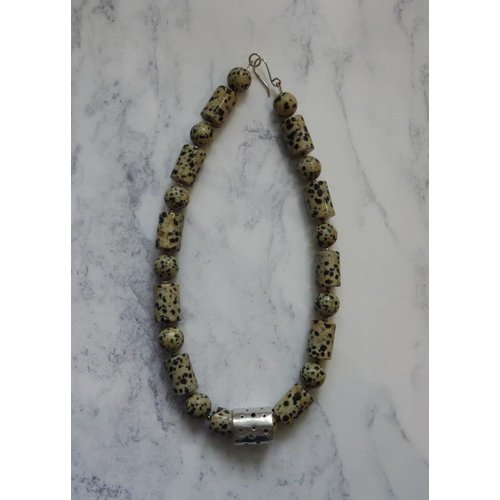 Angela Learoyd Dalmatian Jasper Barrel and Sphere and silver necklace