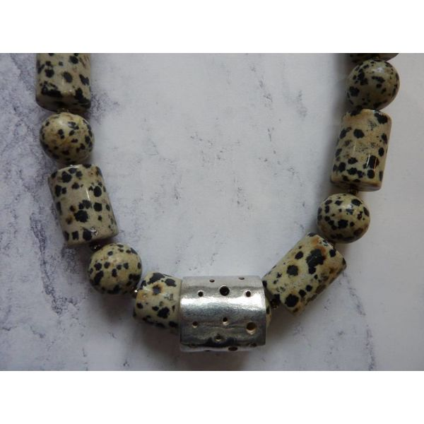 Dalmatian Jasper Barrel and Sphere and silver necklace