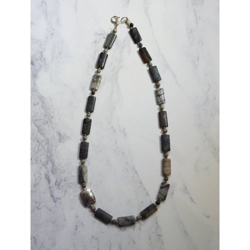 Angela Learoyd Lozenge Jasper gemstones and silver necklace