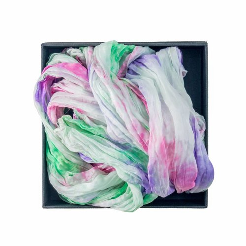 Lady Crow Silks Meadow Crinkle Silk Scarf 145x40cm