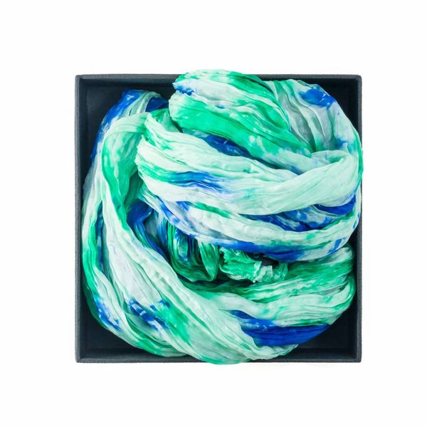 Emerald Crinkle Silk Scarf Boxed