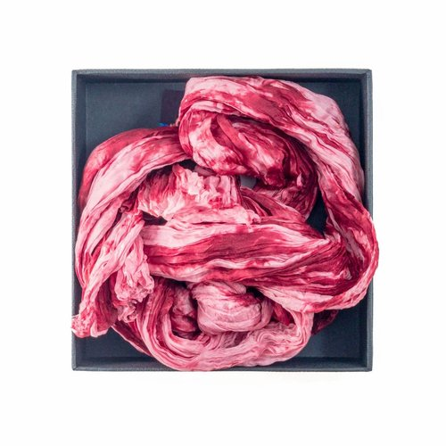 Lady Crow Silks Strawberry Crush Crinkle Silk Scarf