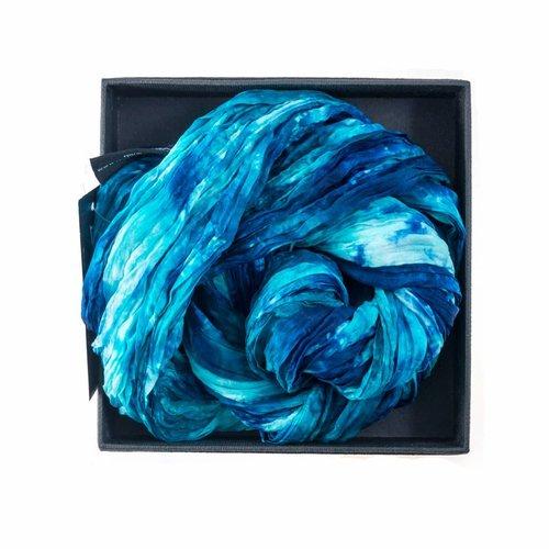 Lady Crow Silks Ocean Crinkle Silk Scarf