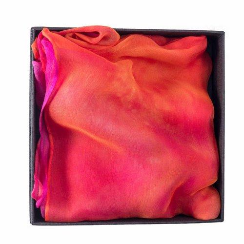 Lady Crow Silks Flamenco Long Gossamer Silk Scarf  Boxed