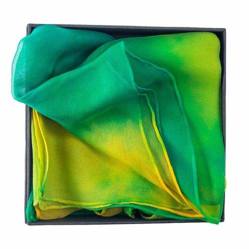 Lady Crow Silks Green Parrot Gossamer Silk Scarf  40x145cm