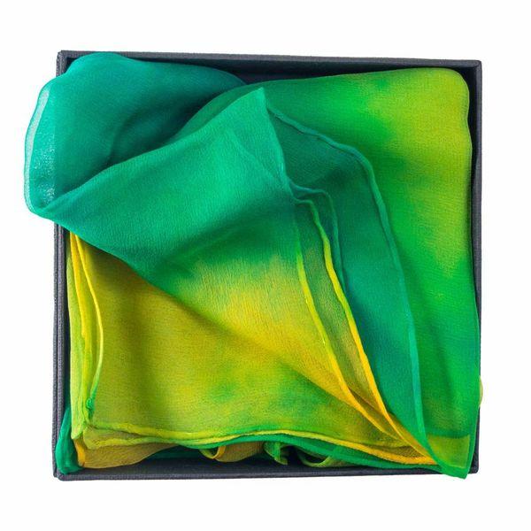 Green Parrot Gossamer Silk Scarf  40x145cm