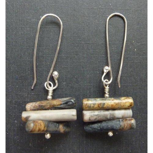 Angela Learoyd Spiky Cylinder Picasso Jasper earrings