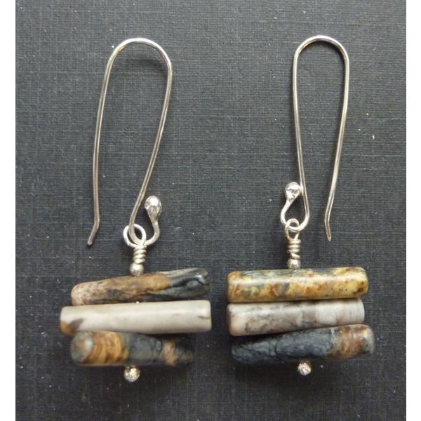 Spiky Cylinder Picasso Jasper earrings