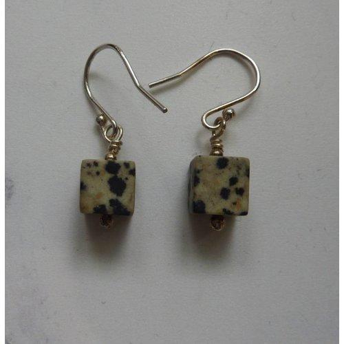 Angela Learoyd Dalmation Jasper Cube earrings
