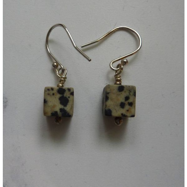 Dalmation Jasper Cube earrings