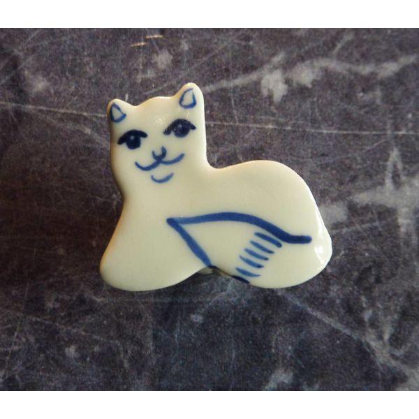 Mini gato de cerámica broche 001