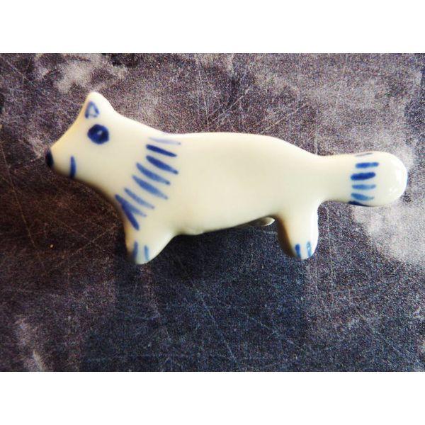 Mini ceramic fox brooch