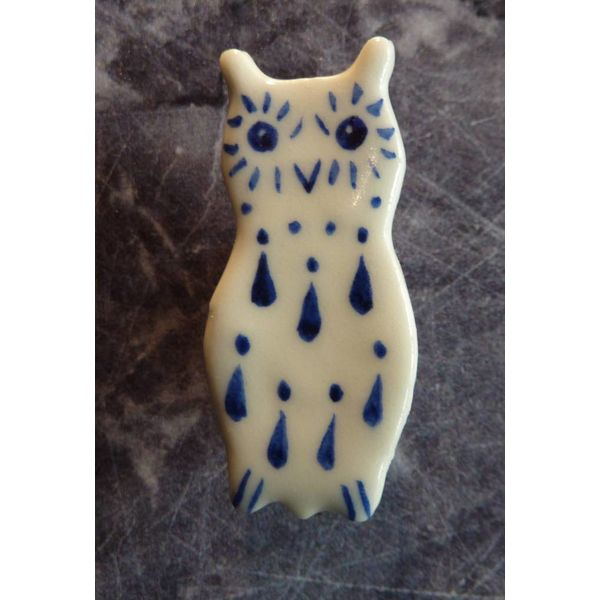 Mini Keramik Eule Brosche 006