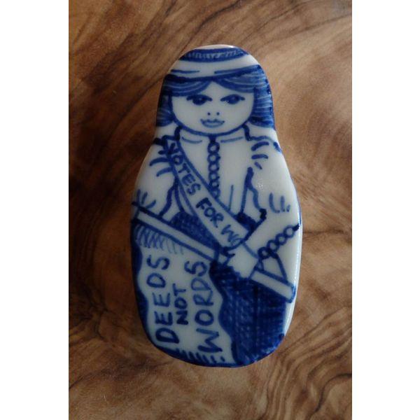 Costume doll ceramic brooch