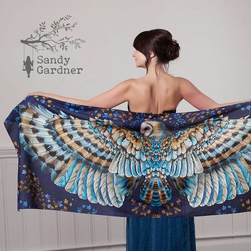 Sandy Gardner Night Owl wearable art wrap