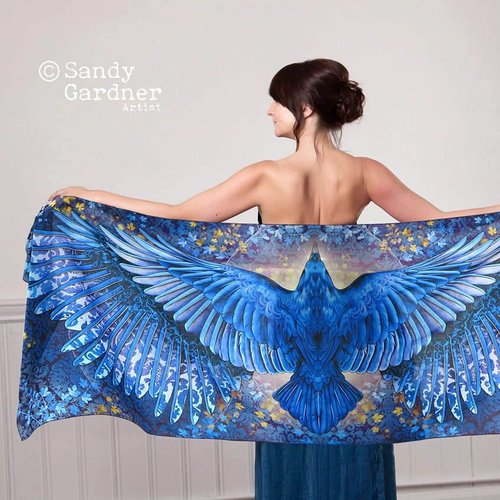 Sandy Gardner Raven wearable art wrap