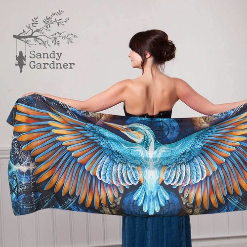 Sandy Gardner Constellation Kingfisher wearable art wrap