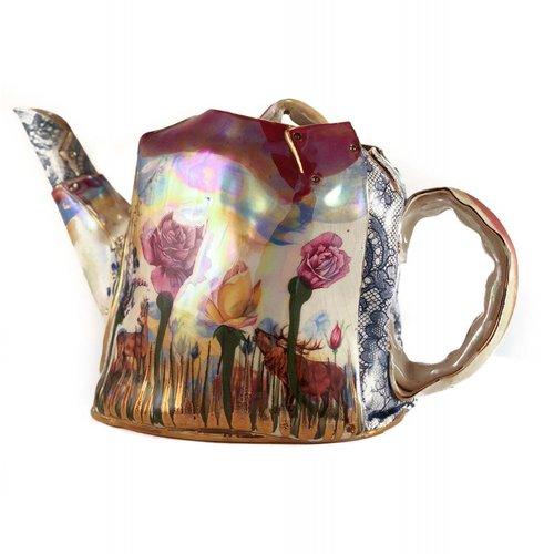 Vanessa Conyers Lustre Secret Garden Lustre Tea Pot unique