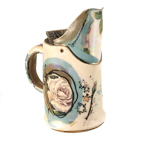 Magic Weather white rose Lustre jug