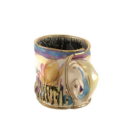 Vanessa Conyers Lustre Secret Garden Blue rim  Lustre cup