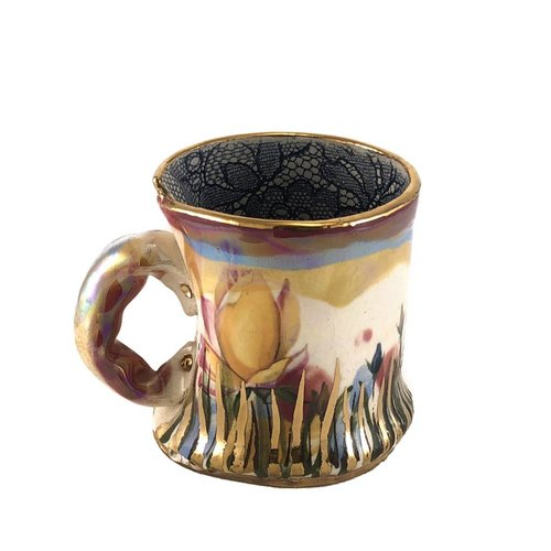 Vanessa Conyers Lustre Copy of Secret Garden Blue rim  Lustre cup