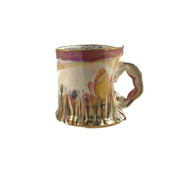 Secret Garden pink rim  Lustre cup
