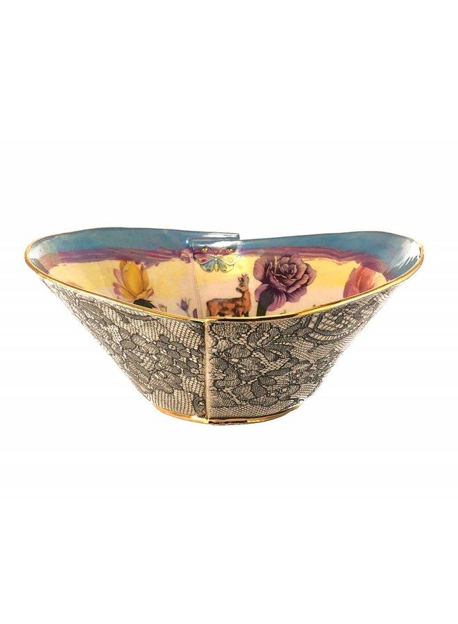 Secret Garden Blue Rand Lustre Bowl
