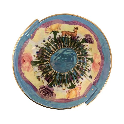 Vanessa Conyers Lustre Secret Garden Blue Rim Lustre bowl