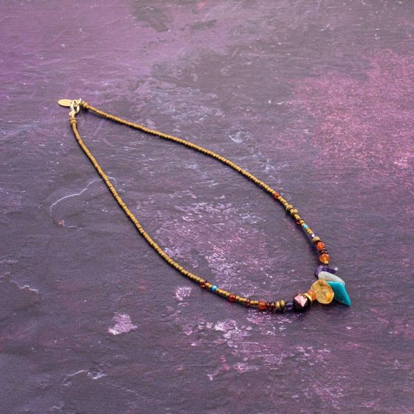 Fragment multi mineral necklace