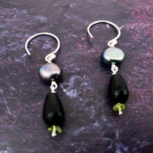 Katherine Bree Princess Vert-Noir Earrings
