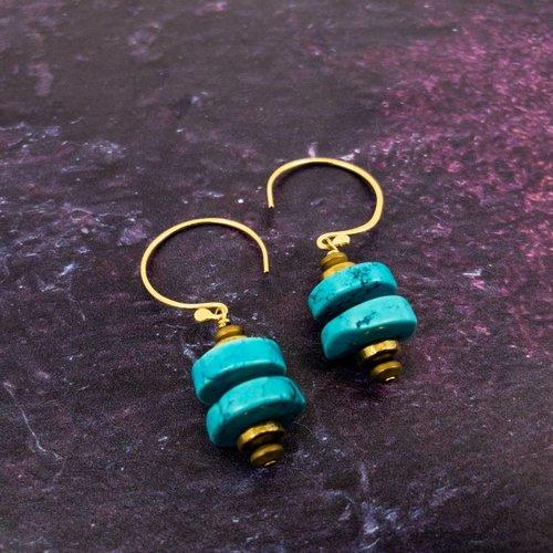 Katherine Bree Pebble turquoise gold hook drop earrings
