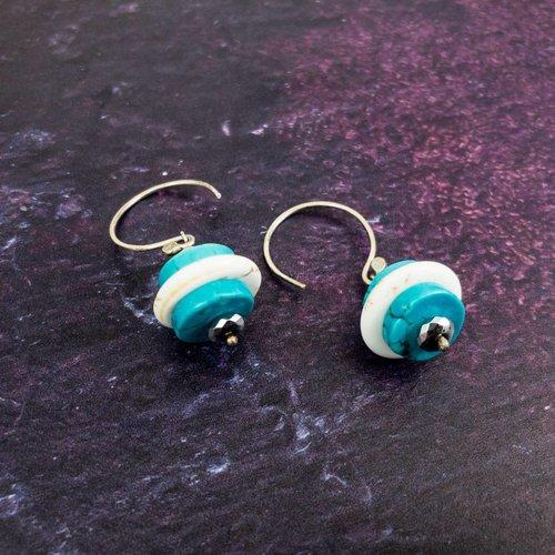 Katherine Bree Pebble turquoise silver hook drop earrings