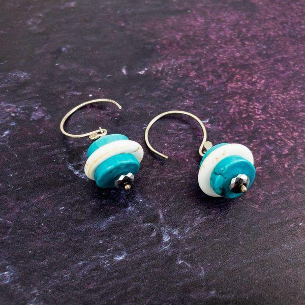 Pebble turquoise silver hook drop earrings
