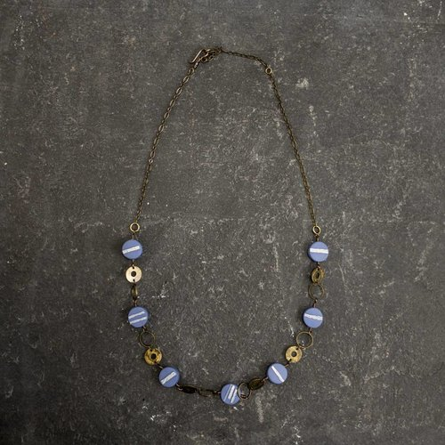 Sara Withers Circle Polymer  Necklace blue