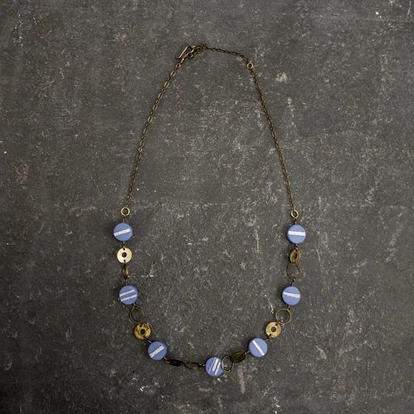 Circle Polymer  Necklace blue