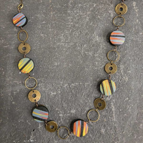 Circle Polymer  Necklace mixed