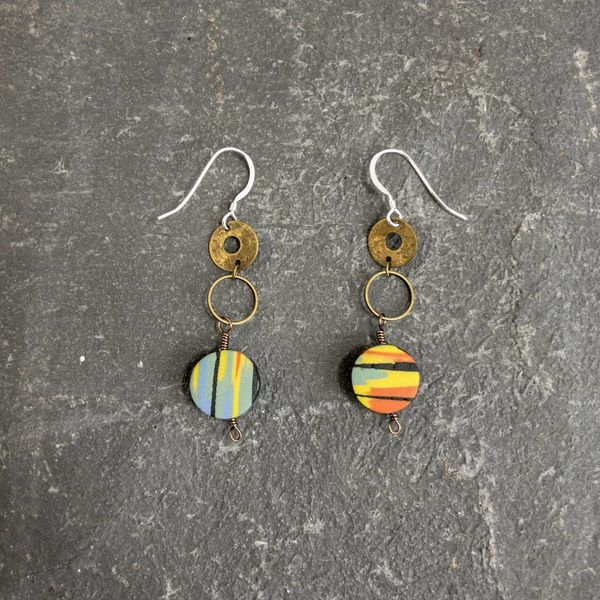 Circle Polymer Earrings mixed