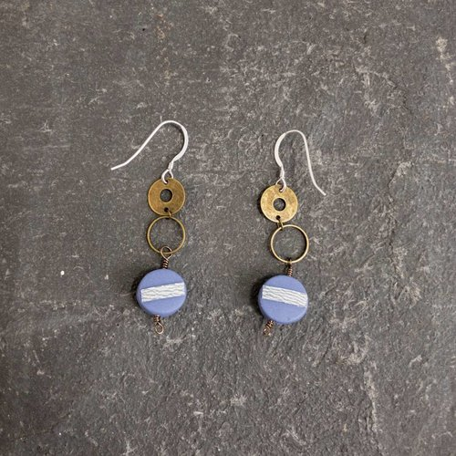 Sara Withers Circle Polymer Earrings blue