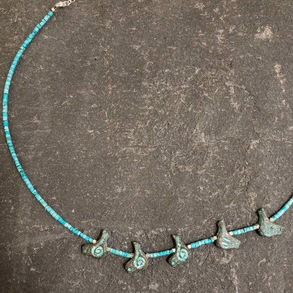 Turquoise and Birds Necklace