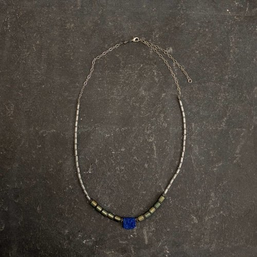 Sara Withers Lapis and Hematite Tube Necklace