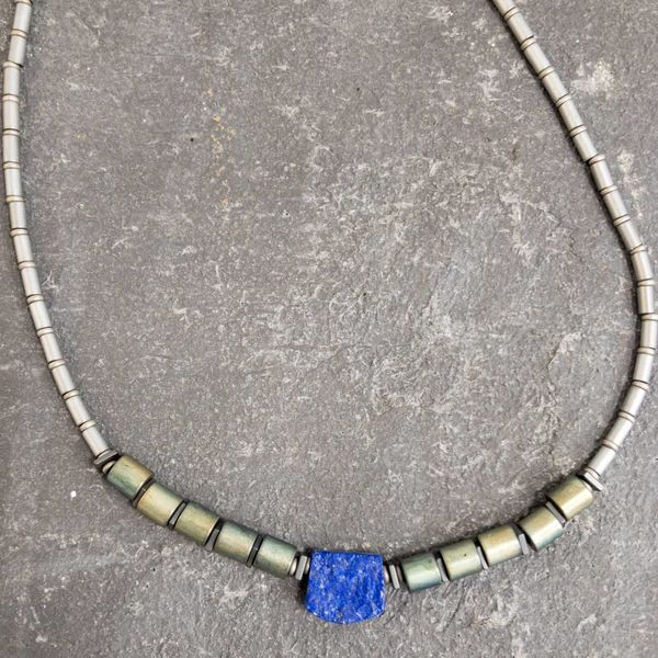 Lapis and Hematite Tube Necklace