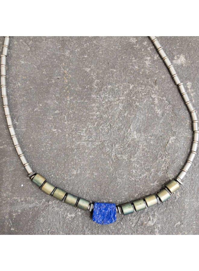 Lapis and Hematite Tube Necklace