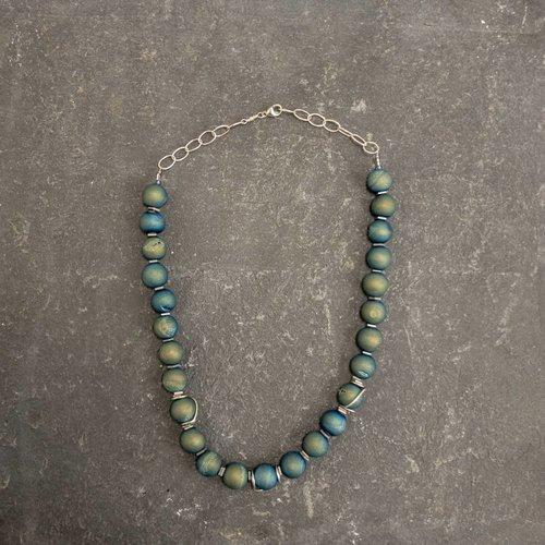 Sara Withers Druzy Quartz and Hematite squares  Necklace