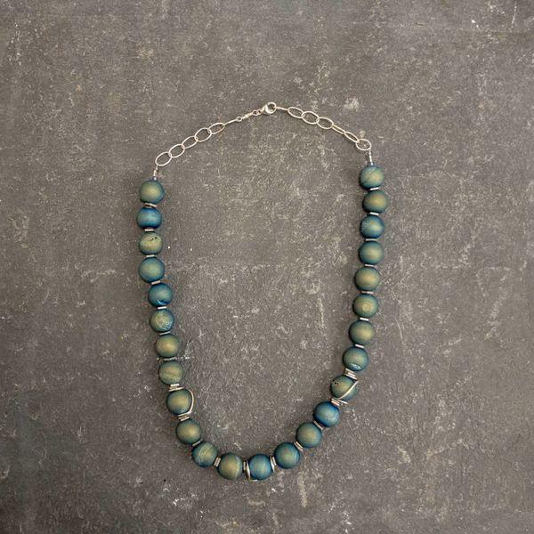 Druzy Quartz and Hematite squares  Necklace