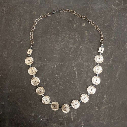Sara Withers Zamac Metal discs with Hematite  Necklace