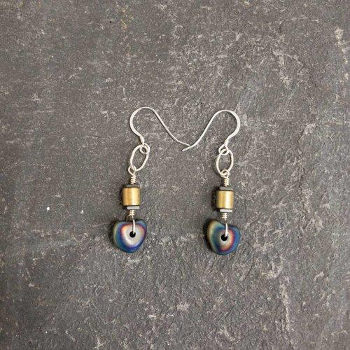 Sara Withers Nugett Hematite tube earrings
