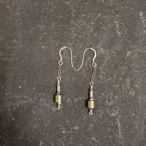 Sara Withers Hematite tube earrings